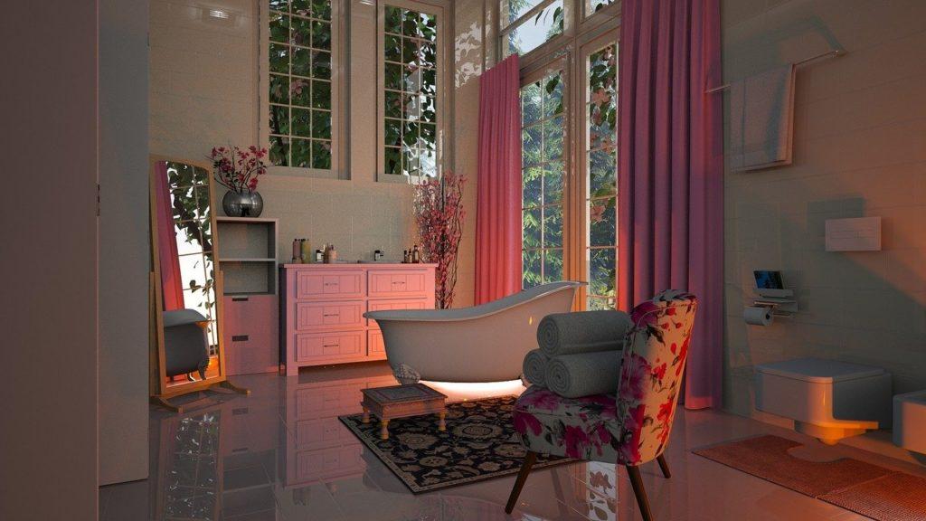 ピンクのバスルーム