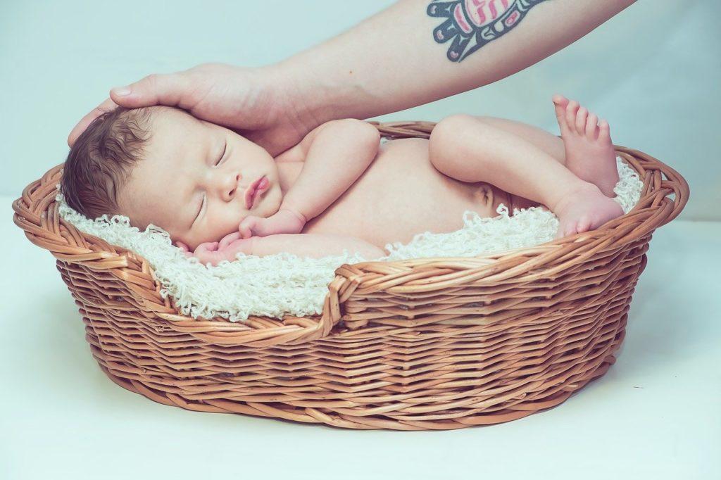 カゴの中の赤ちゃん