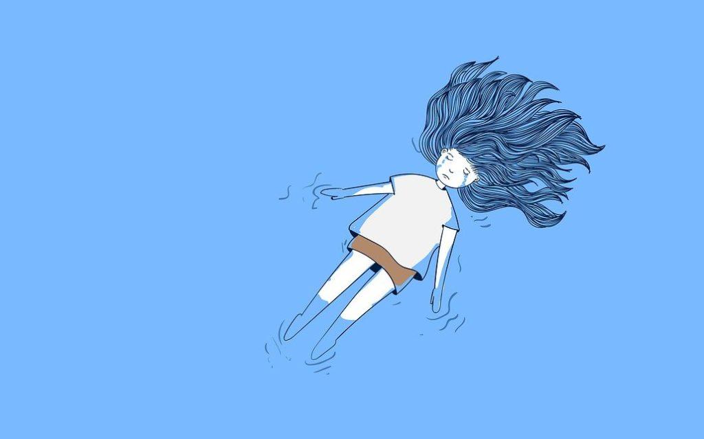 涙を流す女性のイラスト